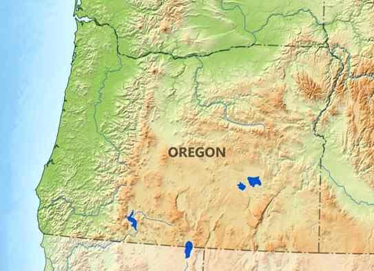 Oregon Terrain Map